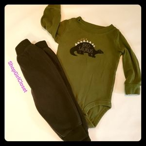 Little BroSaurus Long-sleeved Outfit 9M